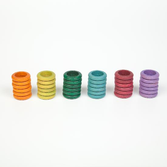 Grapat Wood Coloured Rings 36pc (no basic colours)