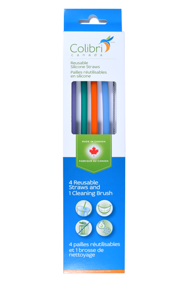 Colibri Reusable Silicone Straw 4 pk + Cleaner Brush