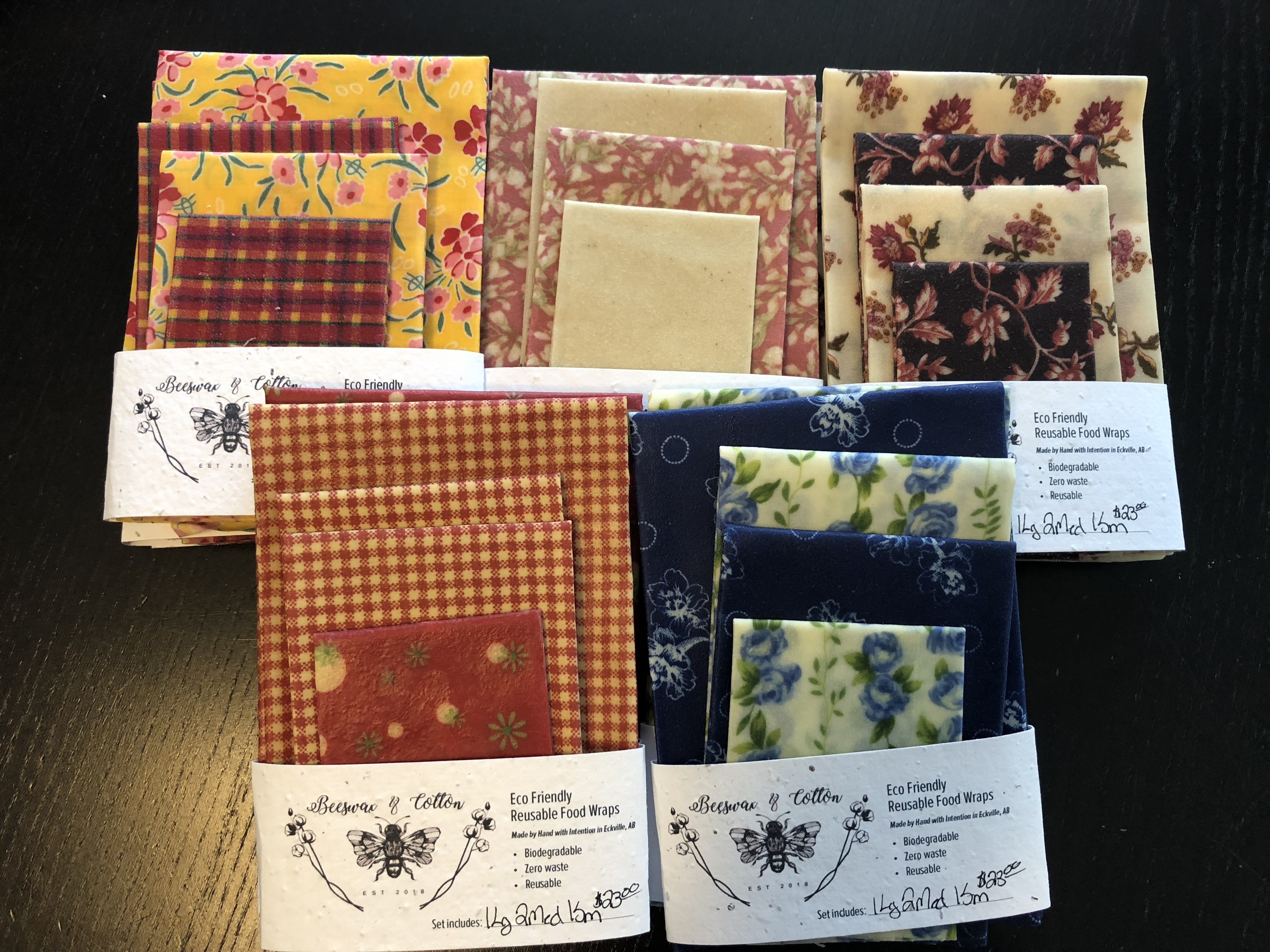 Beeswax & Cotton Food Wraps - Starter Pack