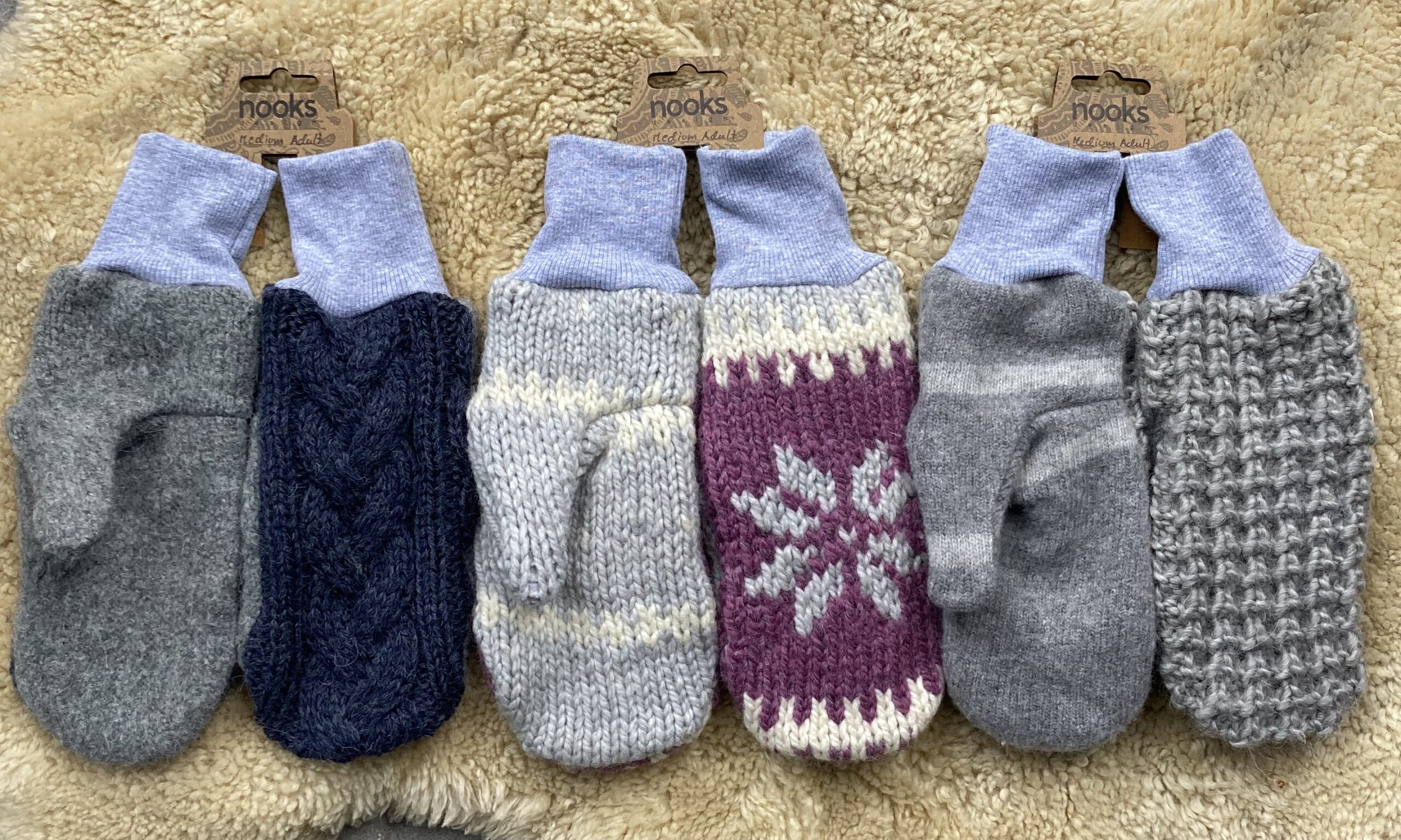Nooks Upcycled Wool Mitttens - Adult Size