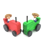 Meadowlark Toy Company - Wooden Tractor & Farmer Peg Doll