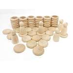 Grapat Wood Nins, Rings and Coins - Natural Wood
