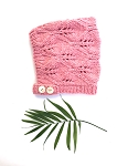 Nooks Hand Knit Merino Wool Bonnet - Berry