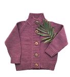 Nooks Hand Knit Wool Cardigan - Plum