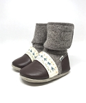 Nooks Design Felt Wool Booties Embroidered - Caribou