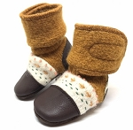Nooks Design Felt Wool Booties Embroidered - Golden Spruce