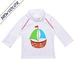 NoZone UV Swim Shirt - White SailBoat