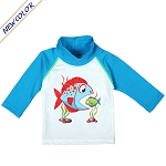 NoZone UV Swim Shirt - Turquoise Fish eat Fish