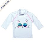 NoZone UV Swim Shirt - White Cat