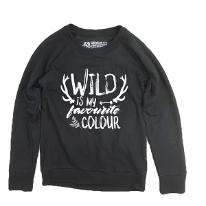Portage & Main Womens Raglan Sweater - Wild is my Favourite Colour