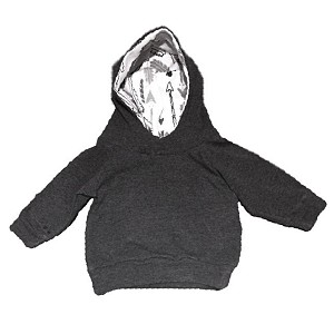Portage & Main Terry Hoodie - Charcoal & Arrows